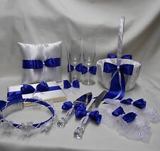 White Royal Blue Flower Girl Basket Pillow Guest Book Cake Set Garters Card Box