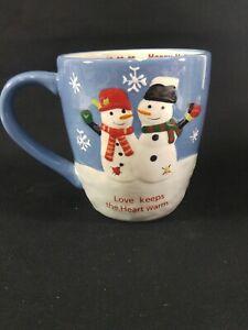 Holiday Coffee Mug St. Nicholas Square Snowman Love Keeps the Heart Warm Mug Cup