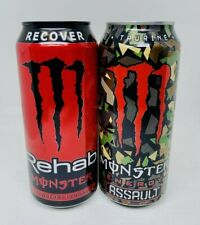 New 2021 Monster Energy Rehab Strawberry Lemonade & Camo Assault 2 FULL CANS