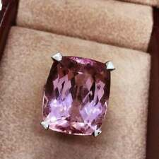 Solitaire 25.00CT One-Of-A-Kind Awesome Rose Pink Cushion Kunzite Wedding Ring