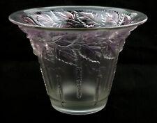 Barolac Czechoslovakia Art Deco Frosted Glass Silver Birch Catkin Vase