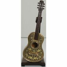 Damascene Gold Miniature Guitar by Midas of Toledo Spain style 2750Guitar