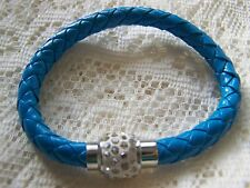 MAGNETIC~ SHAMBALLA_BEAD~ BLUE_ LEATHER  ~ BRACELET. (GREAT_GIFT)