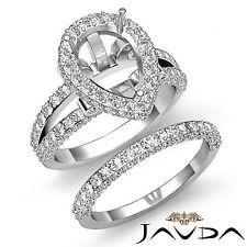 Diamond Vintage Engagement Ring Pear Bridal Set 18k Gold White Semi Mount 2.72Ct