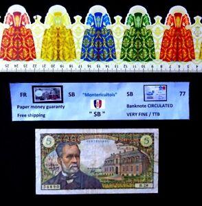 (FR), France, billet de 5 Francs ( Pasteur ), Année : 1966.