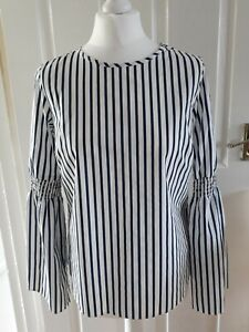 Primark Blue White Stripe Boxy Top Long Flounce Sleeve Ruched Gypsy Nautical 10