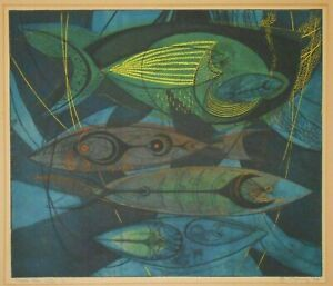 RARE DANIEL P PIERCE (USA/1920-2014) PENCIL SIGNED 1953 AQUATINT 'FISH IN NET 2'