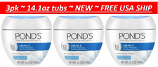 3pk Pond's Crema S, 24 Hour Moisturizer for Dry to Very Dry Skin 14.1oz each