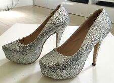JOJO CAT Bling Bling  Silver Glitter Platform High Heels Size 38 Worn Once!