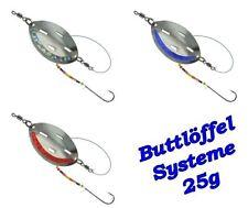 Dega Buttlöffel montiert Gelb-Glitter Gewicht zur Auswahl Plattfischvorfach