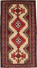 Beige & Red Tribal Geometric Design Vintage 3X6 Hand Knotted Oriental Rug Carpet