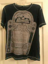 Black Hearts Brigade Skull, RIP Headstone Distressed T-Shirt, Size Small