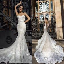 Sexy Wedding Dresses Bridal Mermaid Chapel Custom Lace Applique Sweetheart Boho