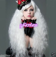 New Fashion Lolita White Long Curly Cosplay Anime Hair Full Wigs+free wig cap
