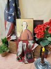 VICTORIAN COLONIAL VINTAGE FOLK ART SHAKER STYLE MAN RED COAT PORTRAIT SIGN