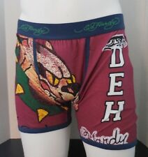 Ed Hardy Men's Athletic Bulldog Vintage Red Boxer Briefs Size M New