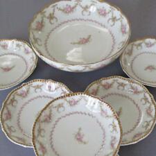 Antique LIMOGES Porcelain DESSERT Set Footed Bowl + 6 * Pink SWAGS Flowers GILT