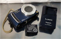 Panasonic DMC-TZ5 Lumix Blue 9.1MP Digital Camera w/ Battery & Charger