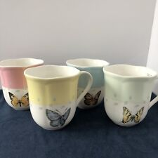 Lenox Butterfly Meadow Set of 4 Motif Coffee Mugs Blue Pink Green Yellow
