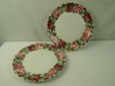 "Block Spal China Rose Garden 10 5/8"" Dinner Plate Portugal Red Pink Floral Set 2"