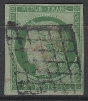 """FRANCE YVERT  SCOTT 2 """" CERES 15c GREEN 1850 """" USED VF FIRMED BRUN  K566"""