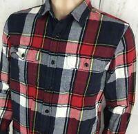 American Eagle Thick Flannel Shirt Button Front Long Sleeve Plaid Checks Men M