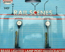 HO SCALE MODEL POWER LIGHTED TOWN STREET CLOCKS WITH BRASS PARTS 2PC. 598 NEW