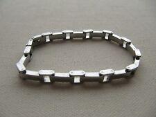 "Biker Chain Link Bracelet Stainless Steel Rectangle Link Stations 7.75"""
