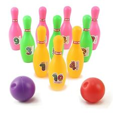 Toy Bowling Set For Toddlers 12 Piece - 10 Pins 2 Balls, Stickers And Case TN-50