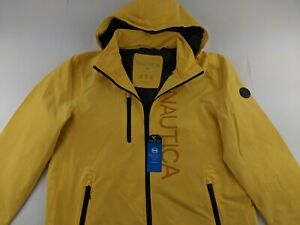 NEW Nautica M Yellow Windbreaker Jacket Stretch Hoodie Water Resistant Spellout