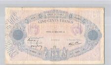 France 500 Francs bleu et rose 9 Mars 1939 O.3251 n° 81263605 Pick 88C