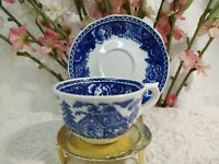 Vintage Arabia  mini tea cup & saucer Blue White Ocean. Made in Finland.