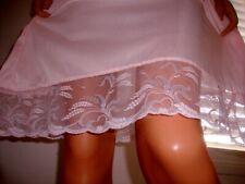 Fem Vtg Sheer Pink Soft Slippery & Silky Deep Lace Hem Half Slip Petticoat 16
