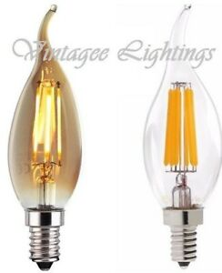 Vintage E14 Candle LED Bulb Filament Antique Industrial Edison Light  4 PACK UK