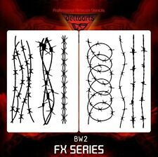 Airbrush stencil template DELTAARTS BARBED WIRE 2 stencil BW2 SET OF 2  MID XXL