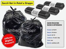 100 Sacchi Spazzatura Neri 70x110 10 rotoli x10 strappi Sacchetti Immondizia