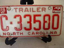 NORTH CAROLINA N C TRAILER LICENSE PLATE C-33580  ESTATE FIND