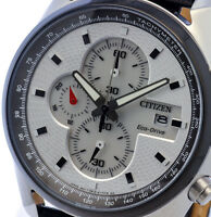 NEW MEN'S CITIZEN ECO DRIVE 100M CHRONOGRAPH ANALOG SPORTS WATCH CA0361-04A
