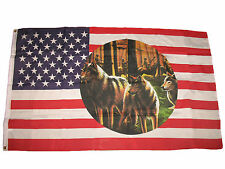 3x5 USA Indian Three Wolf Pack Native American Premium Flag 3'x5' Banner Grommet