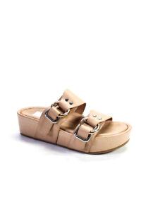 Dolce Vita Womens Open Toe Leather Platform Slides Sandals Beige Size 7.5