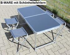 Camping KLAPPTISCH-SET ALU Tisch faltbar 120cm Campingtisch 4 Hocker B-WARE Grau