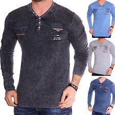 Herren Langarmshirt Sweatshirt T-Shirt Langarm Henley 2in1 Pulli Vintage Wash