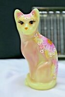 Fenton Burmese Sitting Cat Figurine Hand Painted Vicki Currens OOAK 2015