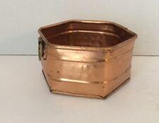 Vintage Copper Flower Planter Pot w/ brass handles, hexagon-shaped, India