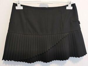 Armani Jeans Black Layered Pleated Mini Skirt Size XS/S US 4