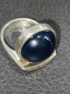 925 Sterling Silver Vintage Black Onyx Smooth Round Cocktail Ring Size 6.5