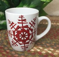 Starbucks 2012 Christmas Coffee Cup Mug White with Large Red SNOWFLAKE Design