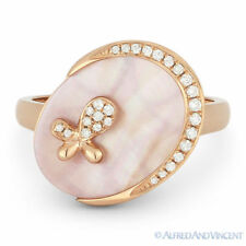 Right-Hand Ring in 14k Rose Gold 1.48 ct Pink Mother-of-Pearl Diamond Oval Charm