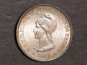 BRAZIL 1889 500 Reis Silver BU