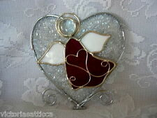 Collectible Ruby Red Stained Glass Angel/Heart Suncatcher/Sun Catcher - NEW